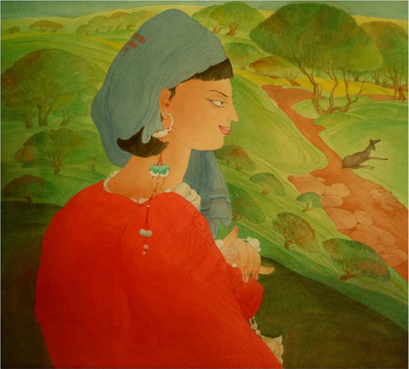 The_shepherd_girl_water_color_on_pa